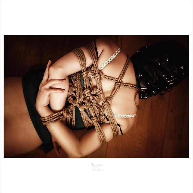 緊縛M女を足で転がして遊ぶ。全頭マスクの奴隷を踏みつけてSM調教 緊縛奴隷・緊縛調教