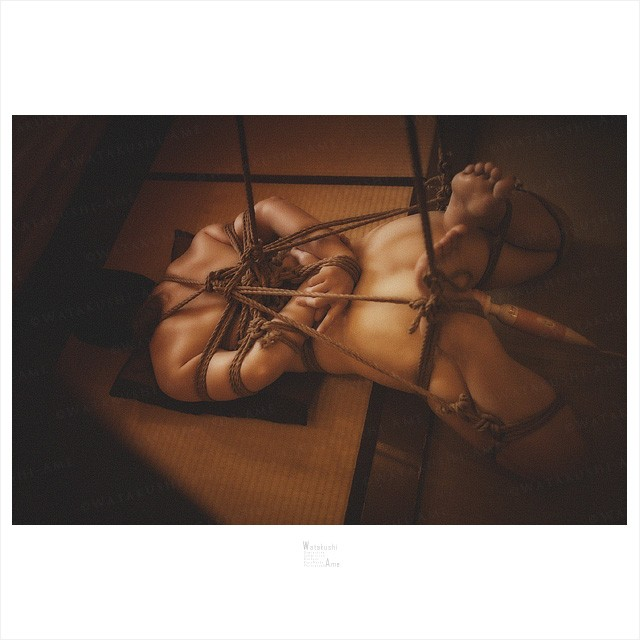 M女を麻縄緊縛。半吊りしたまま電マで快楽放置責め 緊縛奴隷・緊縛調教